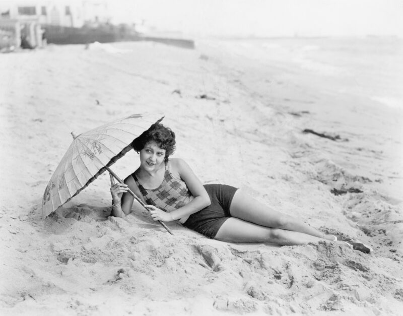 vintage photo young woman vacation