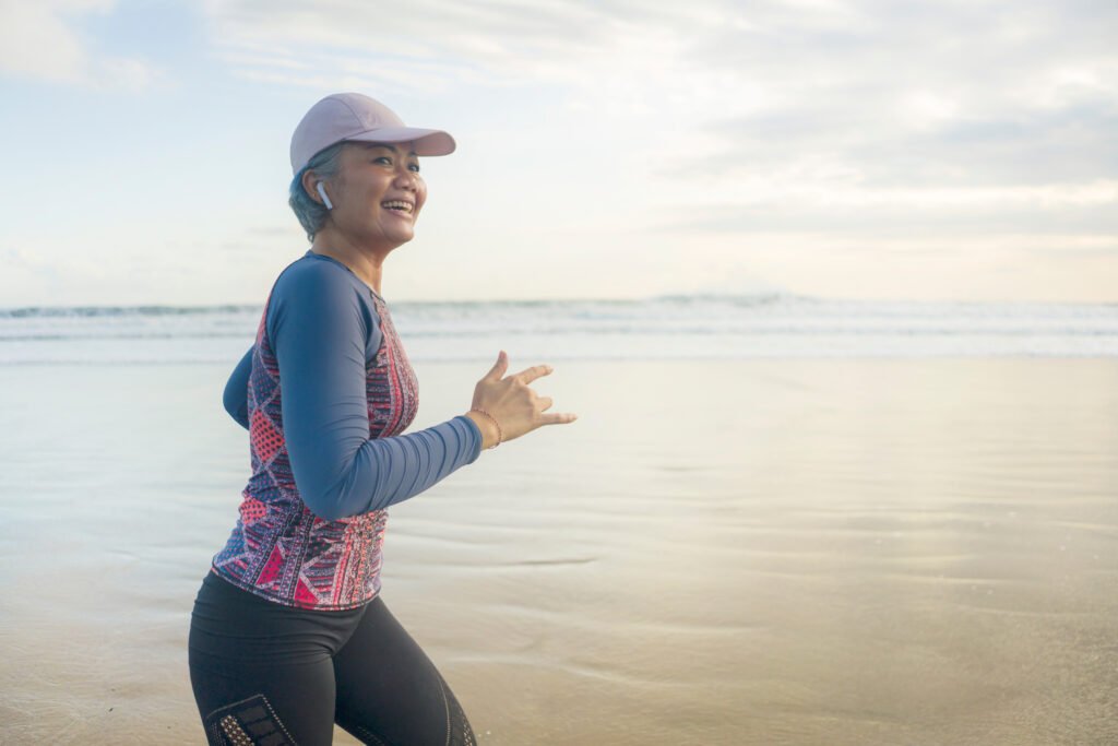 older woman exercising and aging