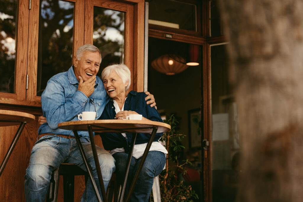 senior sex and dating, couple having coffee